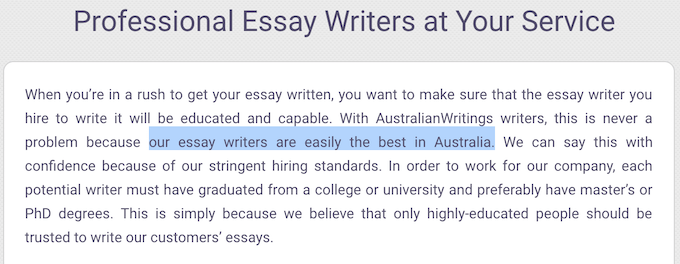 australianwritings.com writers' aren't from australia as they claim