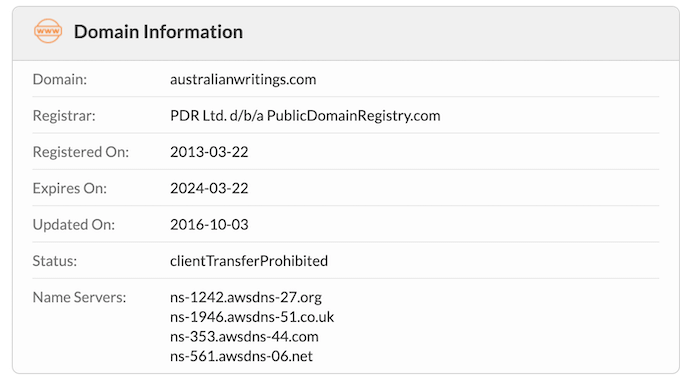 australianwritings.com domain name was registered in 2013